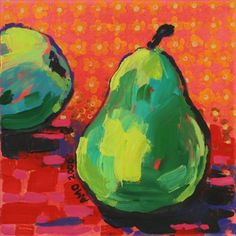 Pear painting / print for the kitchen - Greens and reds. Painting by AnnMarie O'Dowd
