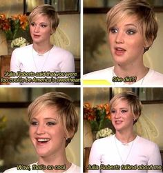 Jennifer Lawrence reaction to what Julia Roberts said about her.