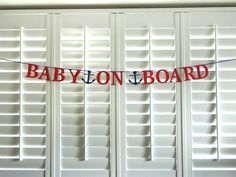 Handmade Baby on Board Banner Nautical Baby Shower Banner Paper Bunting Garland with Anchor Handmade, Beach Theme, Photo Prop Baby Shower Decorations For Boys, Baby Shower Themes, Baby Boy Shower, Shower Ideas, Nautical Theme Baby Shower, Anchor Baby Showers, Beach Baby Showers, Baby An Bord, Bebe Shower
