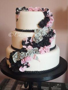 Gorgeous! Pink, Gray and Black Ruffle Ribbon Wedding Cake ~