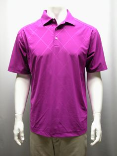 Men's Medium Nike Tennis DriFit Poly/Spandex Golf Polo Shirt Magenta Plaid Print #Nike #PoloShirt