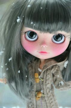 """Wrap me in a blanket and cuddle with me. Rub my toes they're so cold!"""" This one is always too shy to ask but I'd do anything for her. Ooak Dolls, Blythe Dolls, Girl Dolls, Barbie Dolls, Dream Doll, Creepy Dolls, Doll Repaint, Little Doll, Custom Dolls"""