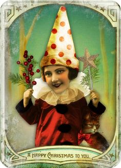 holiday ATC by Tumble Fish Studio, via Flickr using her kits at MischiefCircus.com #Christmascard #digitalcollage #collage