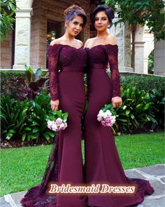 modest full sleeve off shoulder mermaid burgundy bridesmaid dresses,best for fall and winter wedding