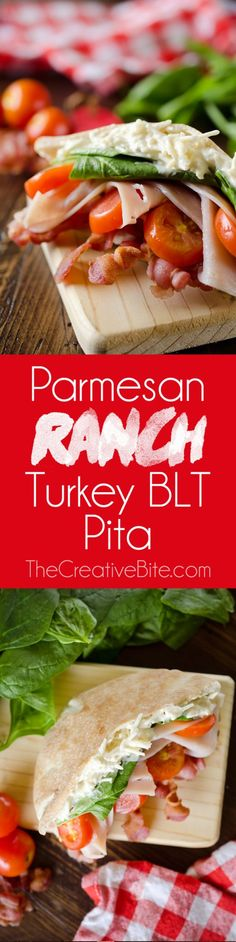 Parmesan Ranch Turkey BLT Pita is an easy 5 minute lunch loaded with bacon, spinach, tomato, turkey and a delicious Parmesan ranch. This healthy sandwich recipe is perfect for a quick summer lunch everyone will love! #Sandwich