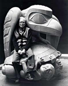 "Bill Reid and ""The Raven and the First Men"" Sculpture, 1980   Yellow cedar, laminated and carved  1.88 m H x 1.92 m diameter  Collection of the UBC Museum of Anthropology, Vancouver, Canada"