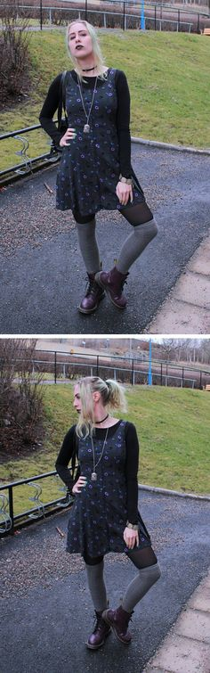 Today's nineties inspired outfit. Dress over a tight top, choker, overknee socks and Dr. Grunge Fashion Soft, Soft Grunge, 90s Fashion, Fashion Outfits, 90s Grunge, Tights, Dress Up, Inspired, My Style