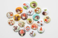 Flatback Buttons  Woodland Themed Set of 20 by buttonsandbadges
