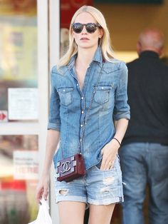Poppy Delevingne does the denim on denim look exceptionally well // #CelebrityStyle #OutfitIdeas #SummerStyle