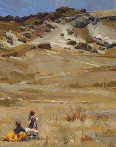 """""""Andes herders"""" Peru, oil, 14 x 11""""  Scott Burdick, 2004"""