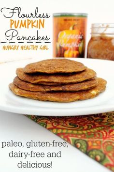 Here's another great brunch recipe if you don't have coconut flour! - These Flourless Pumpkin Pancakes are paleo, gluten-free and packed with big pumpkin flavor. The essence of cozy, cool Autumn mornings. Fall just got better! Gluten Free Recipes, Low Carb Recipes, Whole Food Recipes, Cooking Recipes, Healthy Recipes, Paleo Breakfast, Breakfast Recipes, Brunch Recipes, Clean Eating Recipes