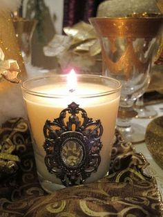 you could use any decorative embellishment to dress up a plain candle
