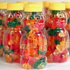 Gummy bear party favors in honey bottles. Honey Bear Bottle, Honey Bottles, Honey Jars, Build A Bear Party, Picnic Birthday, 16th Birthday, Birthday Parties, Birthday Kids, Kid Parties