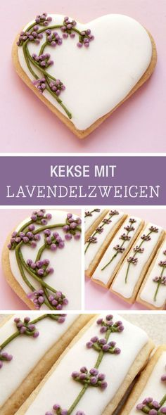 Rezept für Kekse mit Lavendel-Dekor / decorate your cookies with lavender branches via DaWanda.com Sugar Cookie Icing, Cookie Frosting, Royal Icing Cookies, Cake Decorating Tips, Cookie Decorating, Afternoon Tea Recipes, Biscuits, Buttercream Cupcakes, Flower Cookies