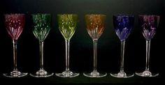 Baccarat crystal set of six harlequin wine glasses