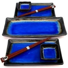 Japanese Cobalt Blue Kosui Seven Piece Sushi Plate Set for Two with Serving Plate