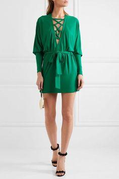 Balmain - Lace-up Jersey Mini Dress - Emerald - FR42