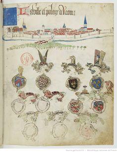 « Registre d'armes » ou armorial d'Auvergne, dédié par le hérault Guillaume REVEL au roi Charles VII. Date d'édition : 1401-1500 Français 22297 Folio 41