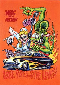 Fink Ed Big Daddy Roth - Merc on a Mission ☮ Art by Ed Roth ~ Rat Fink! ~ ☮レ o √乇 ❥ L❃ve ☮~ღ~*~*✿⊱☮ --- Merc on a Mission☮ Art by Ed Roth ~ Rat Fink! ~ ☮レ o √乇 ❥ L❃ve ☮~ღ~*~*✿⊱☮ --- Merc on a Mission Rat Fink, Ed Roth Art, Cool Car Drawings, Monster Car, Garage Art, Tatoo Art, Kustom Kulture, Big Daddy, Automotive Art