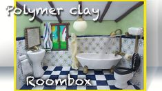 Miniature tutorial - Polymer clay Bathroom roombox Part 1 of 4 - THE ROOM