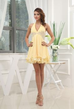 Modest Gorgeous Sexy Cocktail Dress Uk With Halter Chiffon Beaded Empire Waist Short Length Daffodil