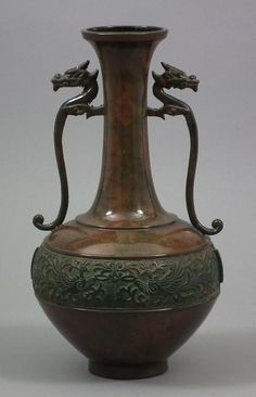 A Chinese bronze two-handled vase.