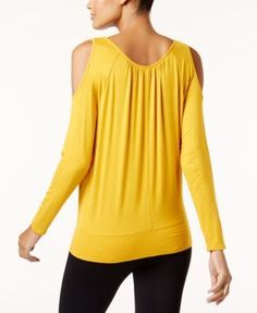 Thalia Sodi Cold-Shoulder Blouse, Created for Macy's - Yellow XXL
