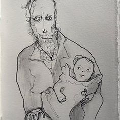 drawing of baby great-grandpa being held by my great-great-great-grandpa