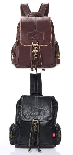 Retro Brown Button Leather Travel Backpack School Bag for big sale !   leather  travel fee2411f71