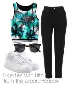 """Together with him  from the airport:Hoseok"" by viva73319 on Polyvore featuring мода, Topshop и NIKE"