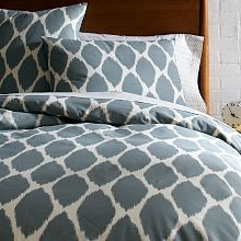 Organic Ikat Ogee Duvet Cover + Shams - Platinum | west elm