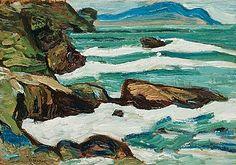 HELMER OSSLUND, Bränningar vid kusten (Waves breaking on the coast).