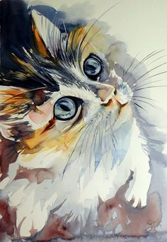 40 Easy Watercolor Painting Ideas For Beginners Easy Watercolor, Watercolor Animals, Cat Watercolour, Watercolor Artists, Watercolor Techniques, Animal Paintings, Animal Drawings, Drawing Animals, Cat Art