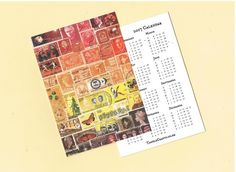 Sunset New Year Card & Calendar 2 - Orange Brown Postage Stamp Art Print £2.00