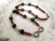 From Here to Eternity Necklace - Golden Obsidian, Pearl, & Czech Glass Crystal - magick - pagan - witch - wiccan - godspouse by FiberWytch on Etsy
