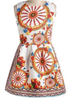 White Sleeveless Wheel Print A Line Dress 21.00