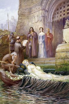 """""""Then was sir Lancelot sent for and the letter read aloud by a clerk""""   Lancelot Speed (1860-1931) illustration"""