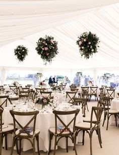 Hanging flowers look fab in the high ceiling of a wedding marquee - Wedding Marquee Wedding Receptions, Wedding Reception Backdrop, Outdoor Wedding Decorations, Marquee Decoration, Hanging Decorations, Hanging Flowers Wedding, Outdoor Wedding Inspiration, Wedding Ideas, Flower Ceiling