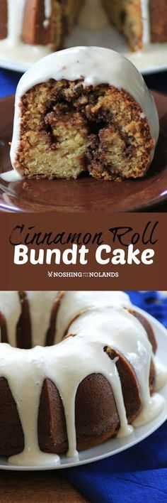 Cinnamon Roll Bundt Cake by Noshing With The Nolands tastes just like homemade cinnamon rolls! You'll love the scrumptious flavor of the cinnamon, pecans and cream cheese frosting! Cake for husband (cinnamon desserts ovens) Just Desserts, Delicious Desserts, Yummy Food, Lemon Desserts, Baking Recipes, Cake Recipes, Dessert Recipes, Donut Recipes, Cinnamon Pecans