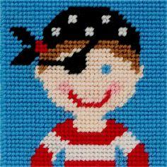 Canevas point de croix pour enfant - motif pirate ! Kit complet comprenant la toile, l'aiguille et les fils