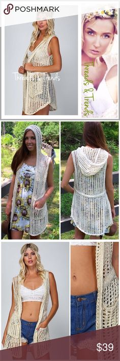 """Crochet Hoodie Jacket We love this new look....crochet sleeveless open cardi vest. In color oatmeal. Featuring a hoodie and 2 front pockets. Year round piece for pairing. So versatile it's a great bathing suit cover too. Made of rayon. Sizes S, M, L.                          Small Bust 38"""" Length 33""""  Medium Bust 38"""" Length 35""""  Large Bust 40"""" Length 35"""" jean jacket Threads & Trends Jackets & Coats Jean Jackets"""
