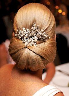 Bride's sleek classic French chignon bridal hair ideas Toni Kami Wedding Hairstyles ♥ ❶ Swarovski hair jewelry