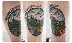 Наталя Литвиненко  KINGDOM TATTOO  #cabin #woods #mountains #tattoo