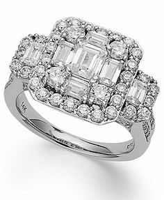 Emerelle Collection Diamond Ring, 14k White Gold Round and Emerald-Cut Diamond Engagement Ring $ 9,000 (2-1/2 ct. t.w.)