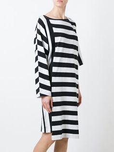 Y-3 T-Shirt-Kleid mit asymmetrischen Streifen