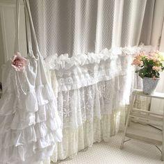 Bohemian Lace Ruffle Shower Curtain Shabby Chic Style Bathroom