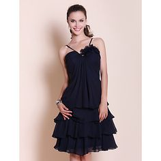 Knee-length+Chiffon+Bridesmaid+Dress+-+Dark+Navy+Plus+Sizes+/+Petite+A-line+/+Princess+Sweetheart+/+Spaghetti+Straps+–+USD+$+69.99