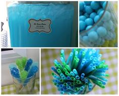 Blue and Green decor (punch and straws)