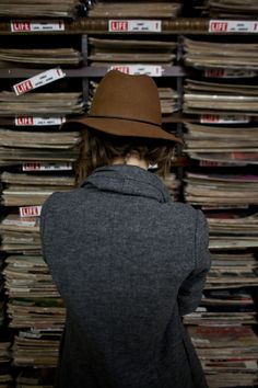 hat and grey coat. style inspiration.