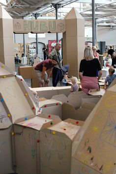 HUBU cardboard system at Finders Keepers in Copenhagen August 2018 Finders Keepers, Copenhagen, Construction, Building, Creative, Buildings, Architectural Engineering